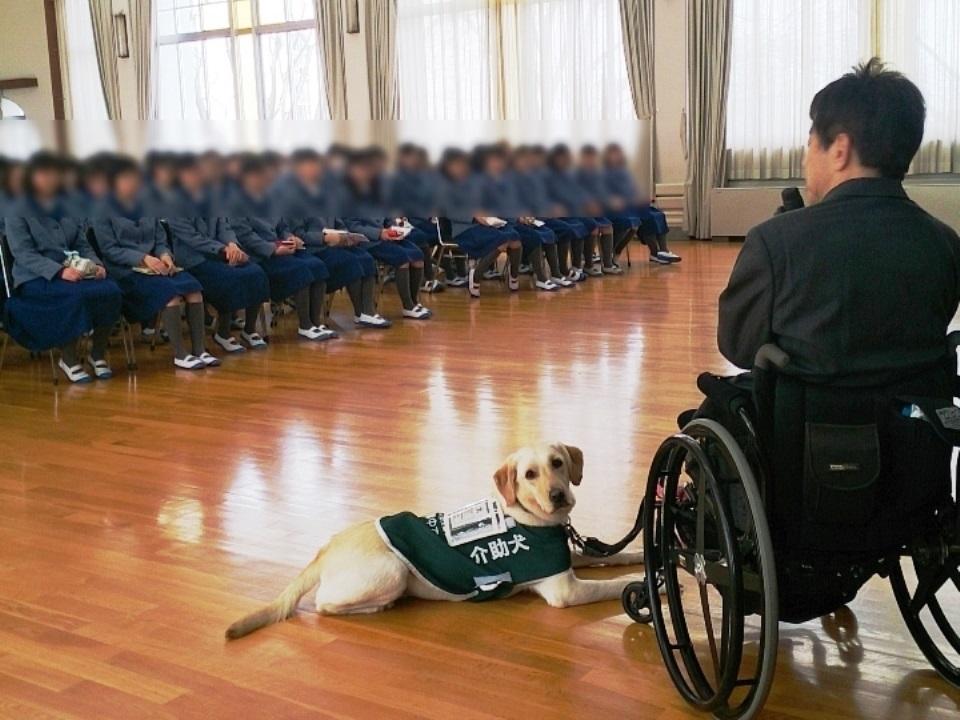 写真:小林聖心女子学院高等学校で講演する理事・木村佳友&介助犬デイジー