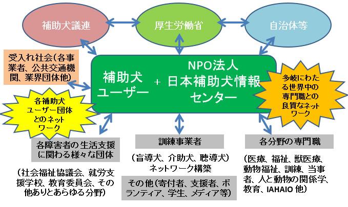 相関図:日本補助犬情報センターは、補助犬議連、厚生労働省、自治体などと、また、訓練事業者、補助犬ユーザー団体など、補助犬に関連団体をつなぎます。